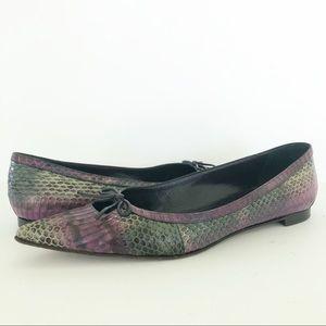 Manolo Blahnik Snake Purple Green Pointed Flats